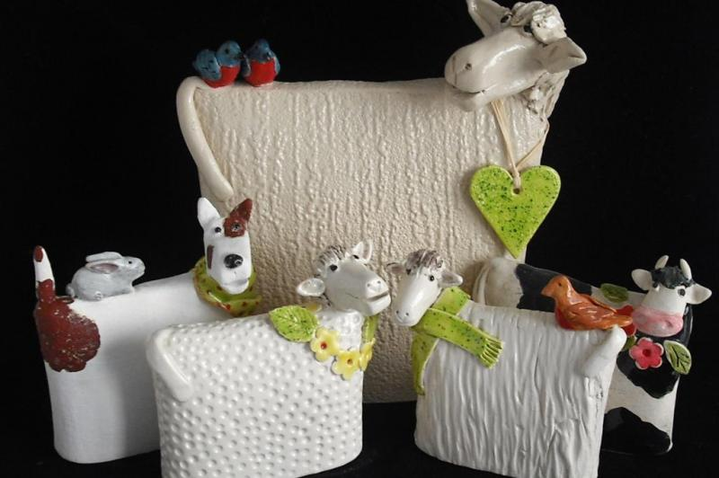 Ceramic Animals  - Dog Sheep Cow